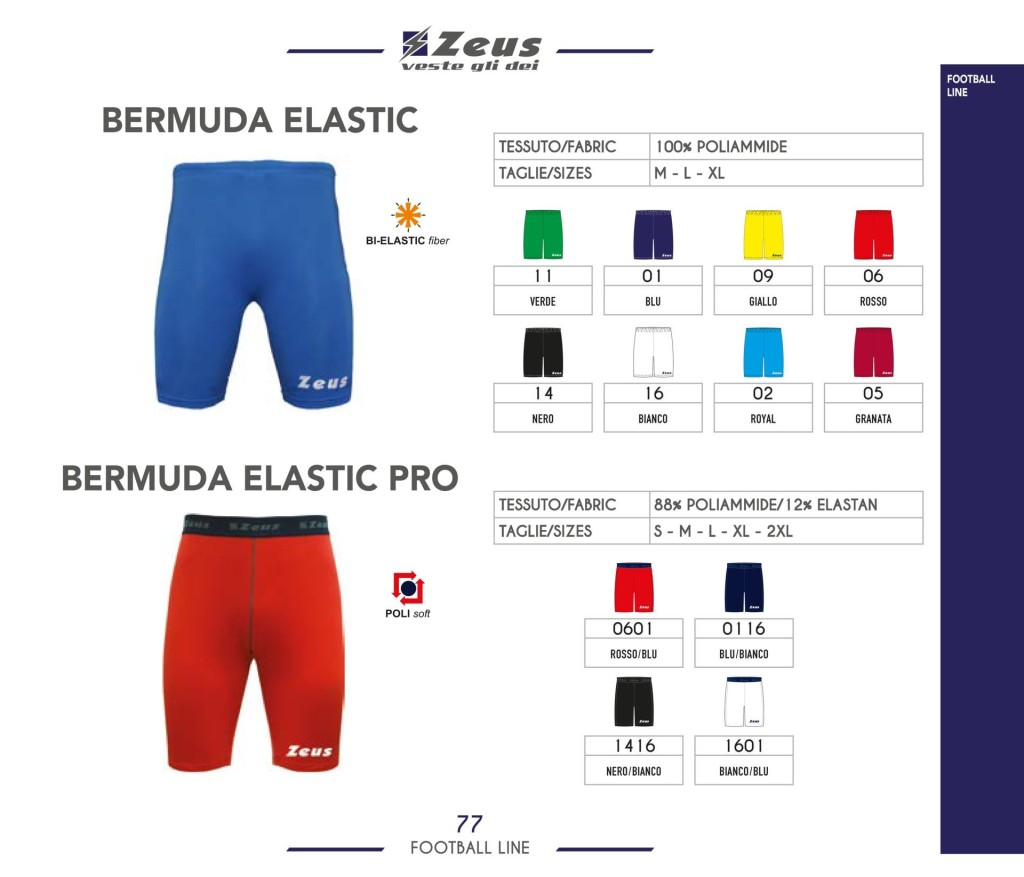 Komplety piłkarskie Zeus Bermuda Elastic i Bermuda Elastic Pro