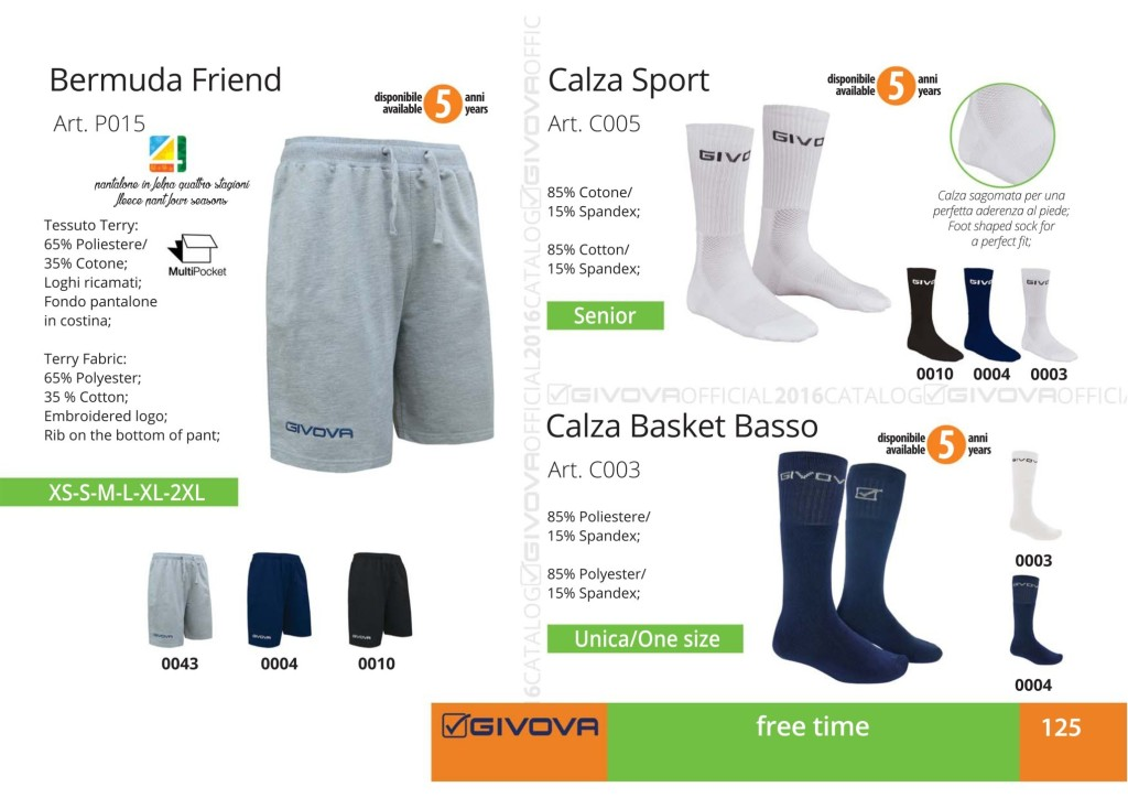Odzież Givova Relax Bermuda Friend, Calza Sport i Calza Basket Basso