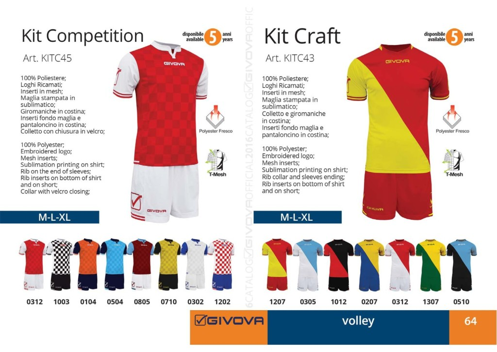 Stroje siatkarskie Givova Kit Competition i Craft