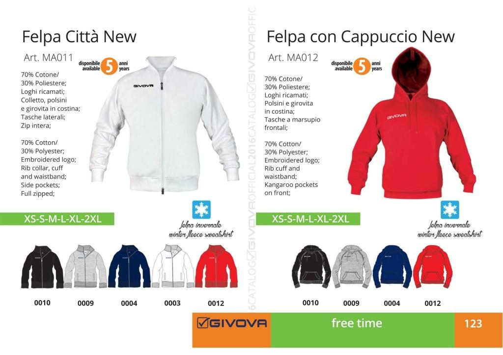 Odzież Givova Relax Felpa Citta New Con Cappuccio New