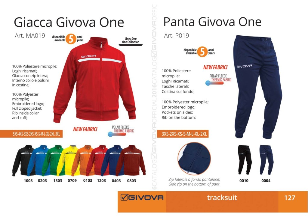 Dresy sportowe Giacca Givova One i Panta Givova One
