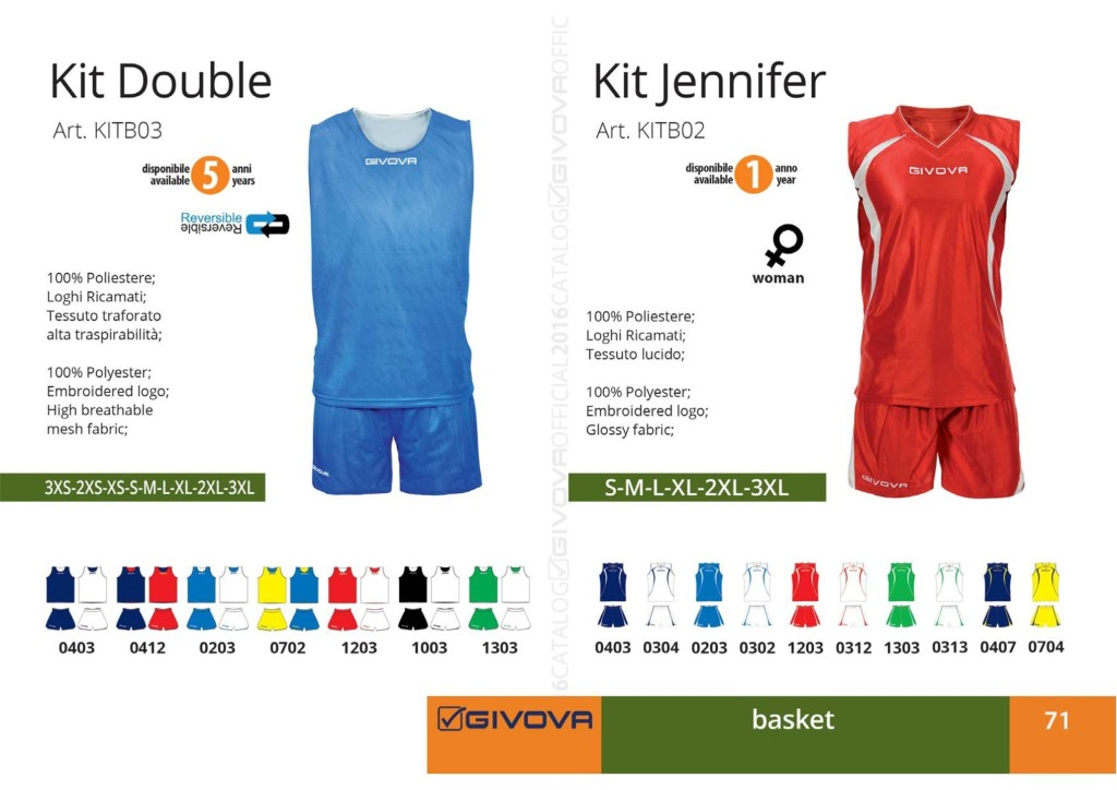 Stroje koszykarskie Givova Kit Double i Jennifer