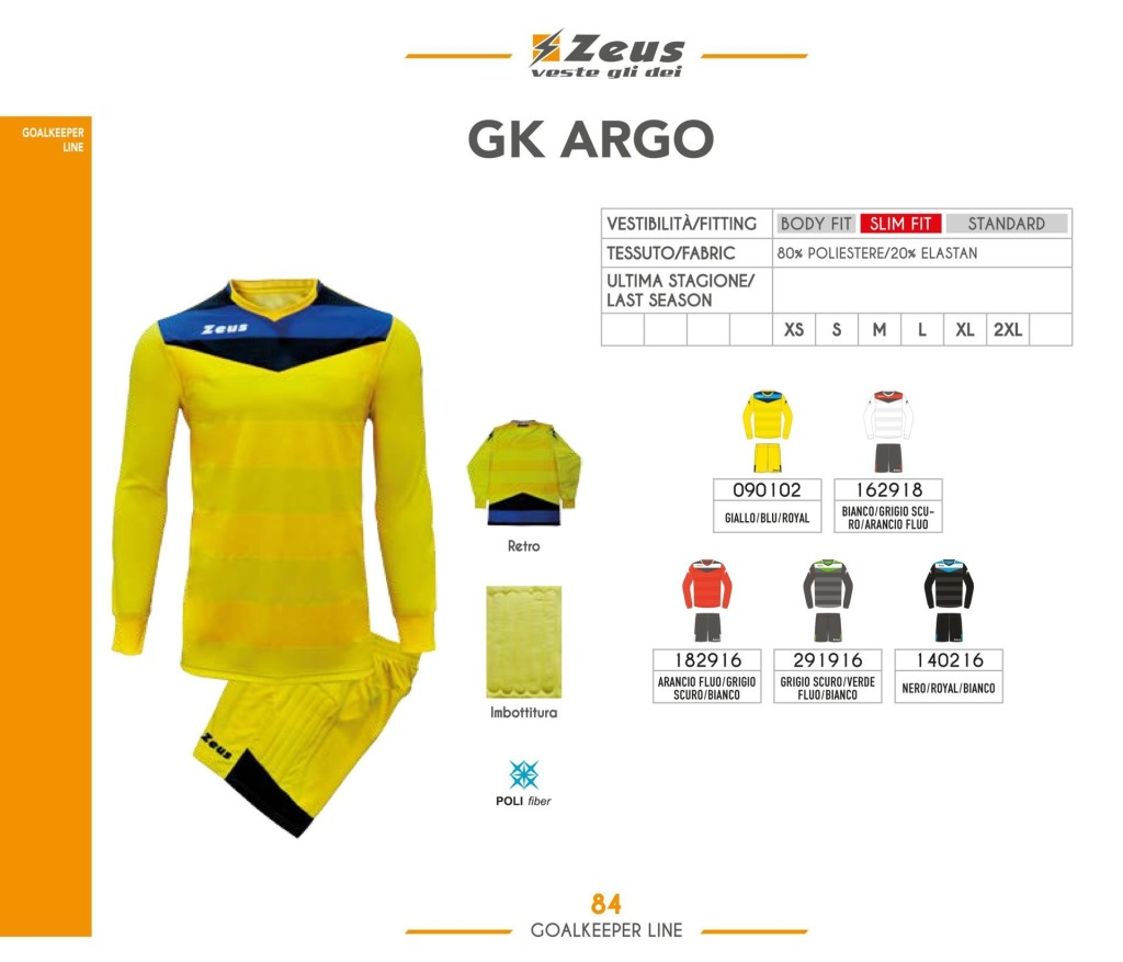 Komplety piłkarskie Zeus Gk Argo