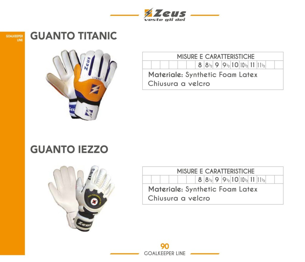 Komplety piłkarskie Zeus GK Guanto Titanic Iezzo