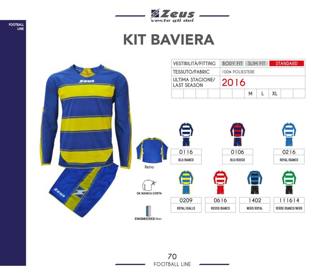 Stroje piłkarskie Zeus Kit Baviera