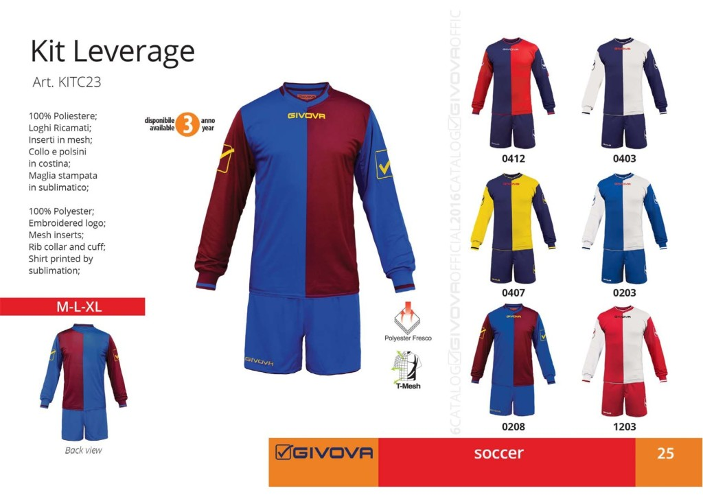 Komplety piłkarskie Givova Kit Leverage