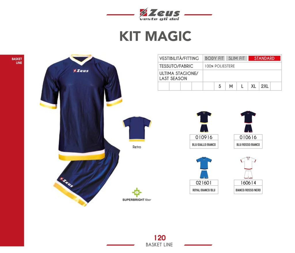 Stroje koszykarskie Zeus Kit Magic