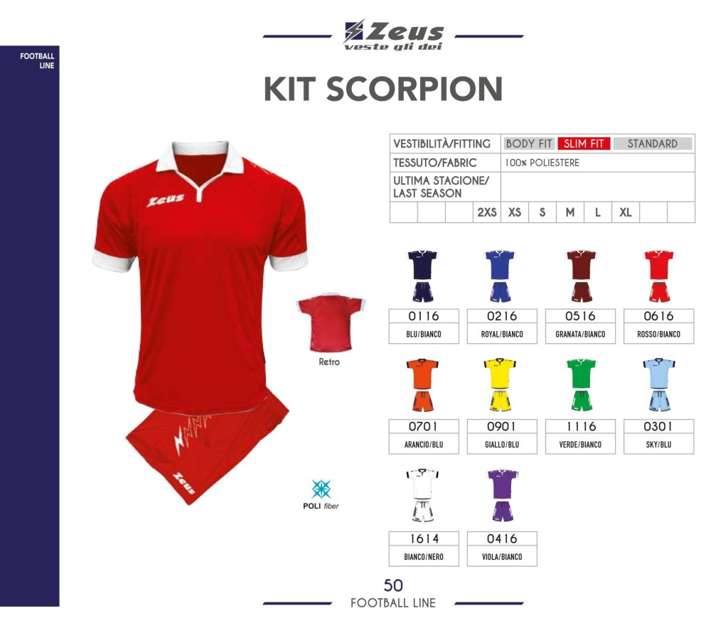 Stroje piłkarskie Zeus Kit Scorpion