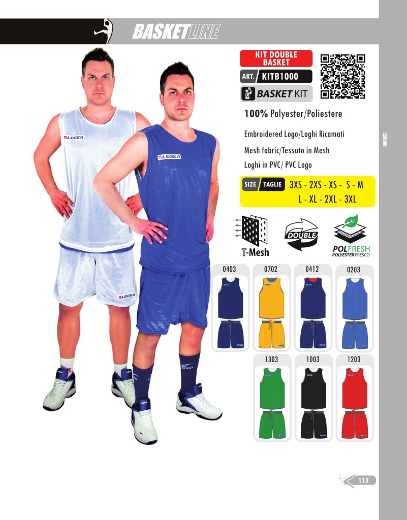 Stroje koszykarskie Legea Kit Double Basket