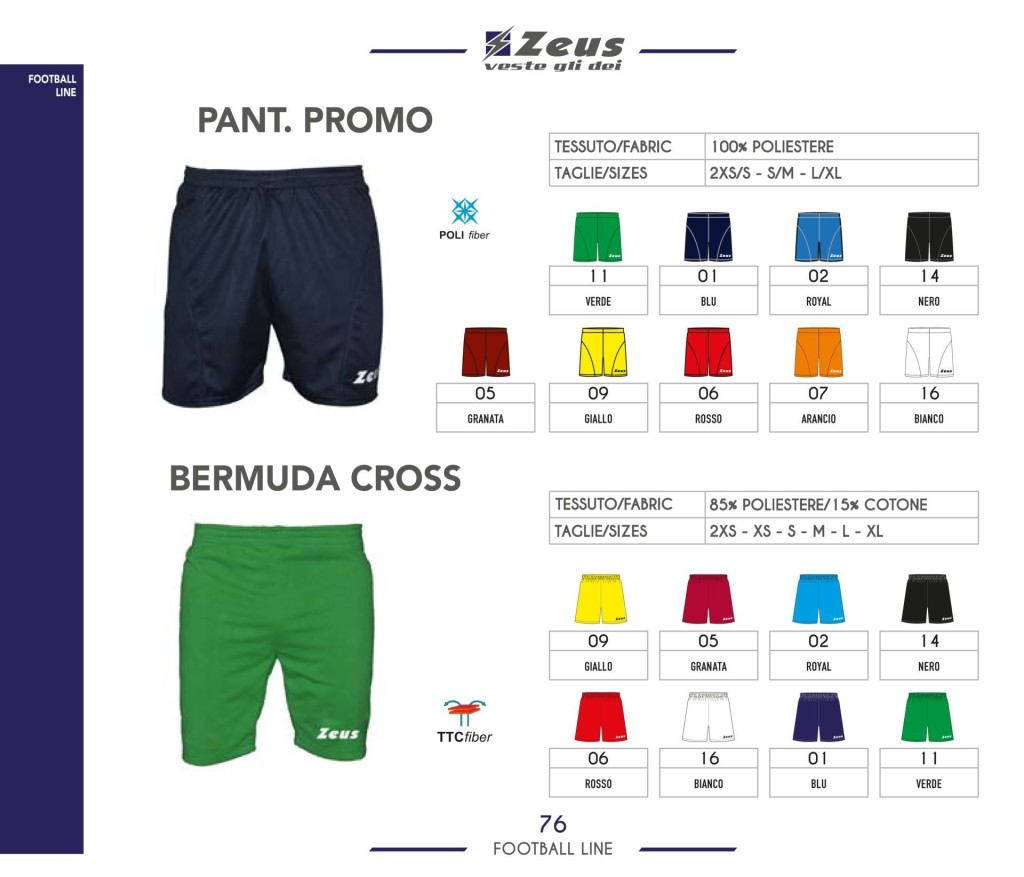 Stroje piłkarskie Zeus Pant Promo i Bermuda Cross