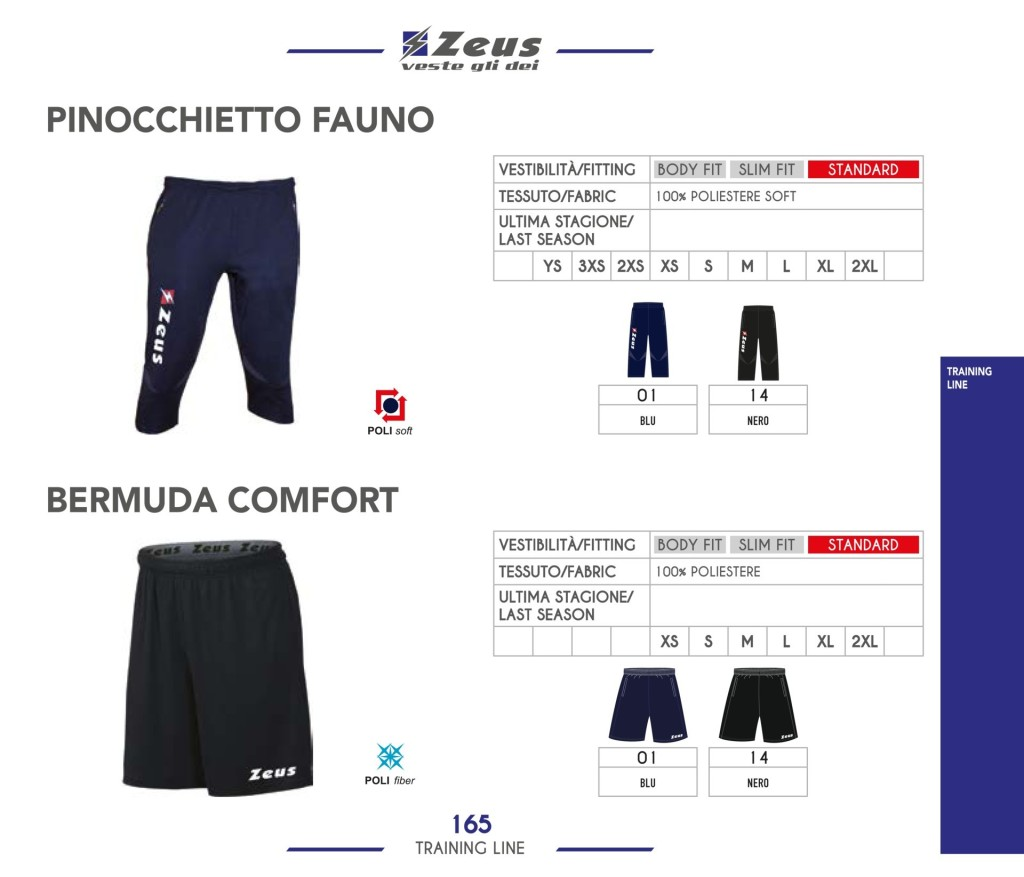 Odzież treningowa Zeus Pinocchietto Fauno i Bermuda Comfort