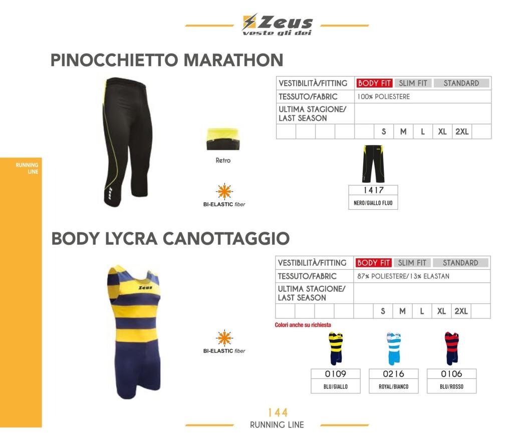 Stroje do biegania Pinocchietto Marathon i Body Lycra Canottaggio