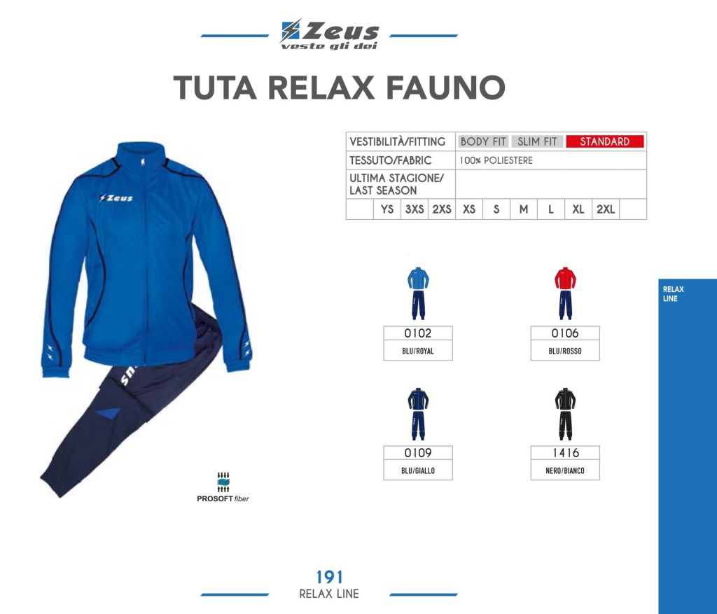 Dresy sportowe Zeus Tuta Relax Fauno
