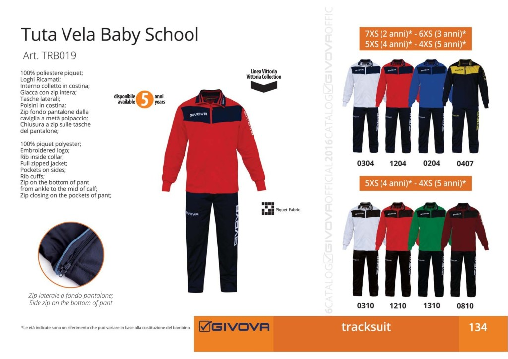 Dresy sportowe Givova Tuta Vela Baby School