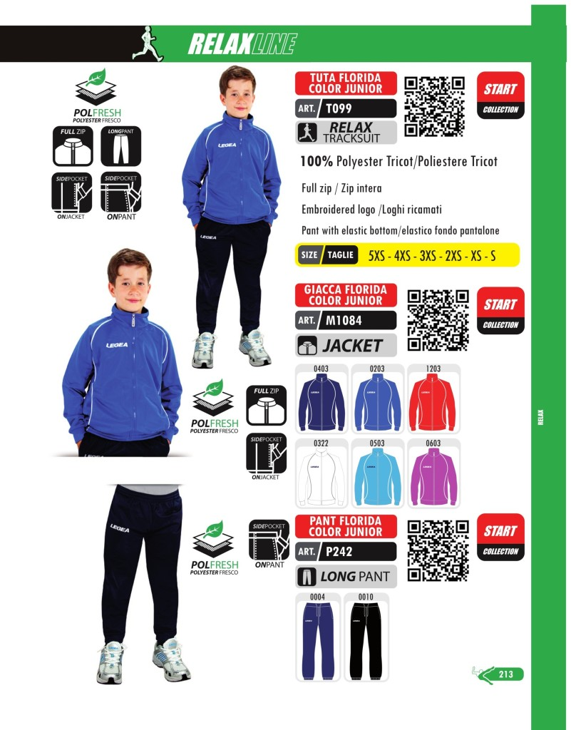 Dresy sportowe Legea Tutta, Giacca, Pant Florida Color Junior