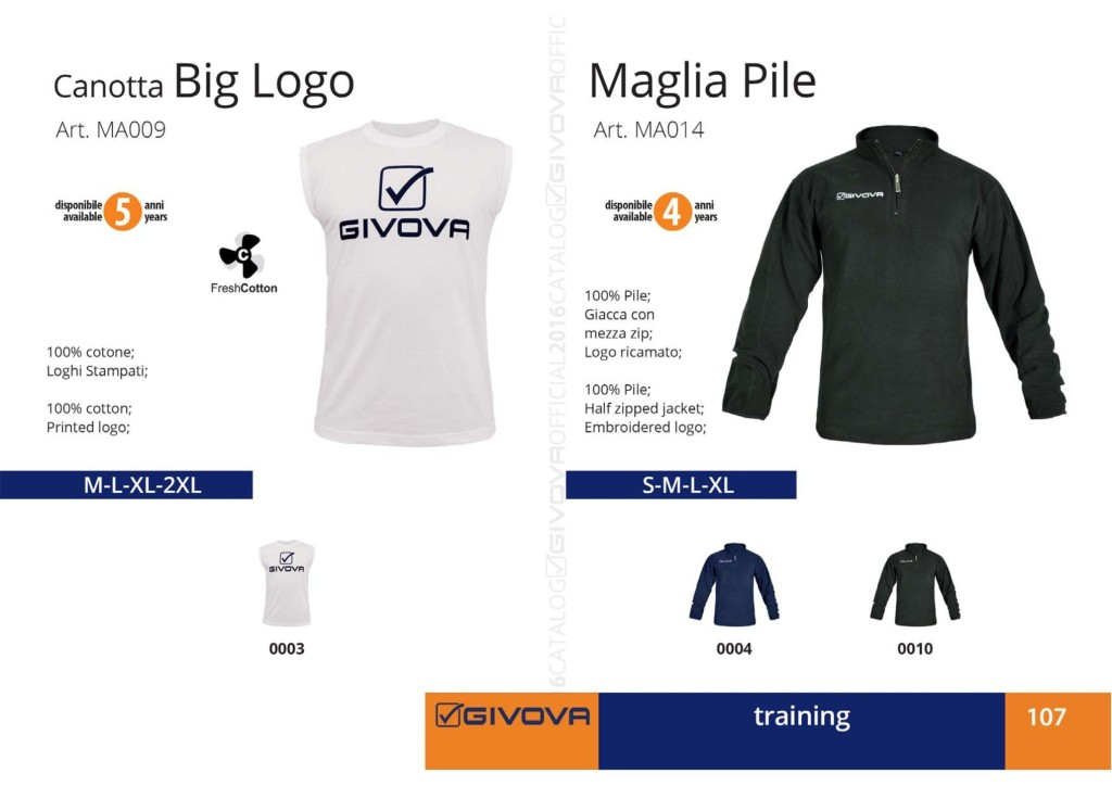 Odzież treningowa Givova Canotta Big Logo, Maglia Pile