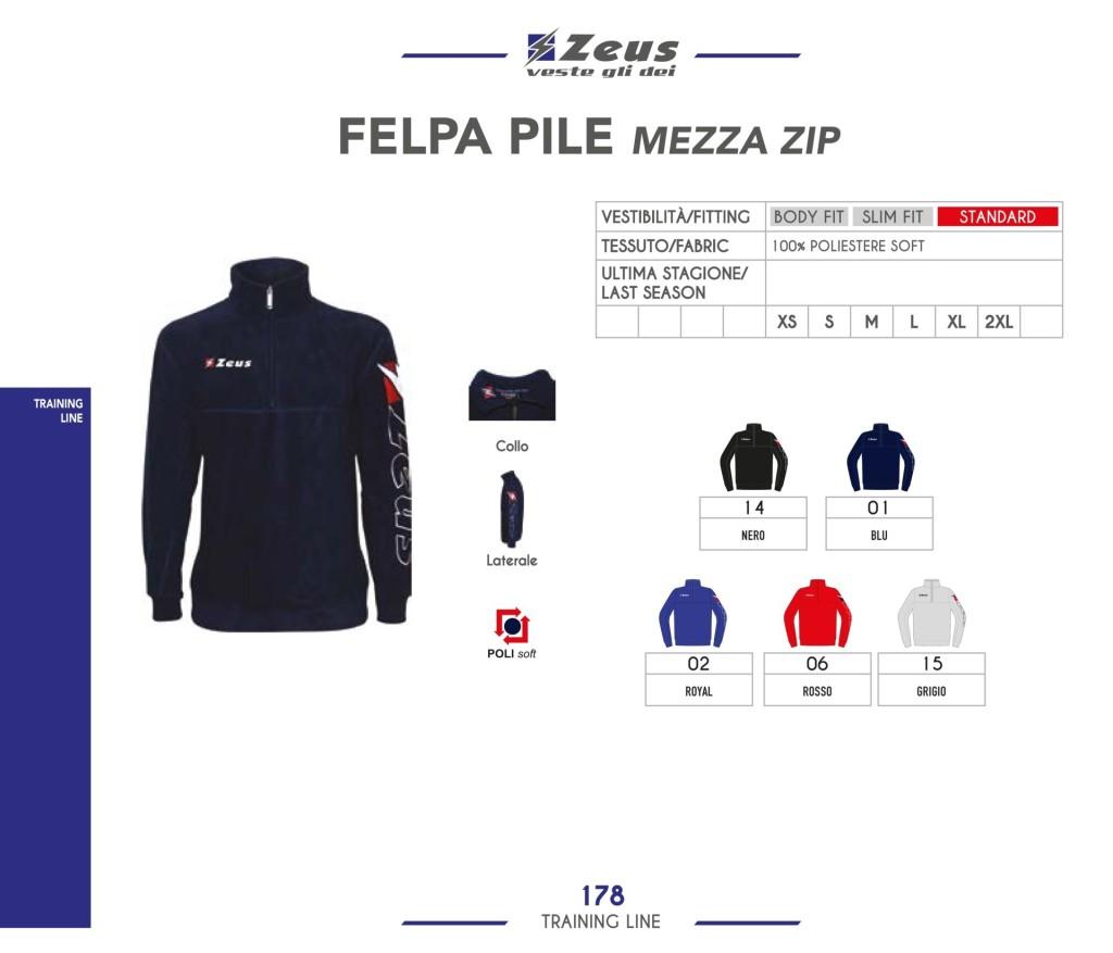 Odzież treningowa Zeus Felpa Pile Mezza Zip