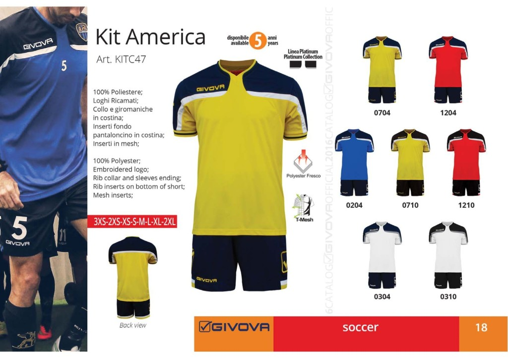 Komplety piłkarskie Givova Kit America