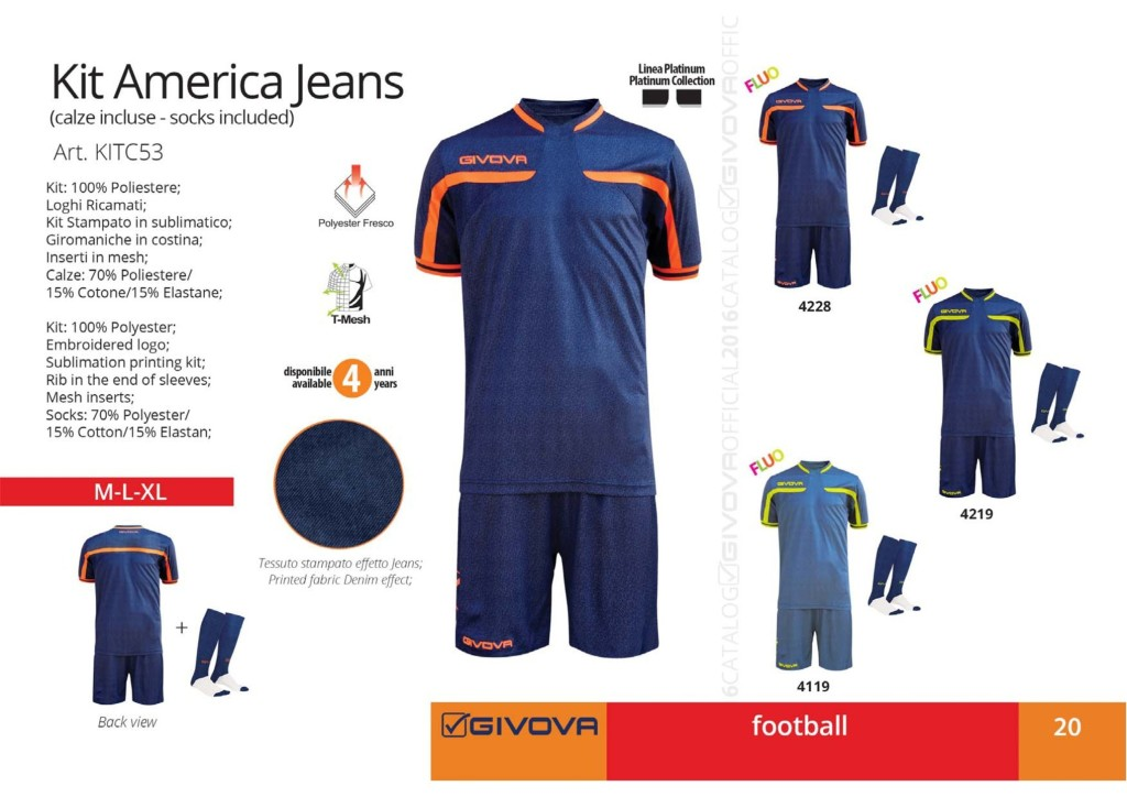 Komplety piłkarskie Givova Kit America Jeans