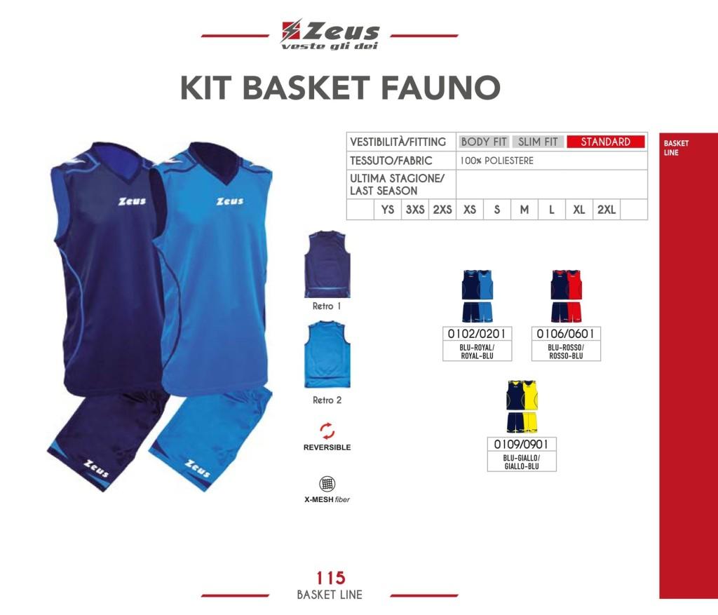 Stroje koszykarskie Zeus Kit Basket Fauno
