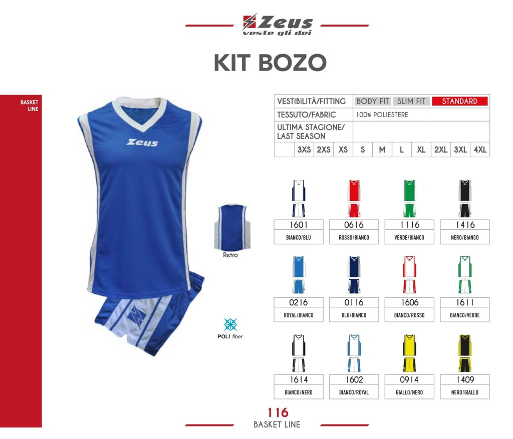 Stroje koszykarskie Zeus Kit Bozo