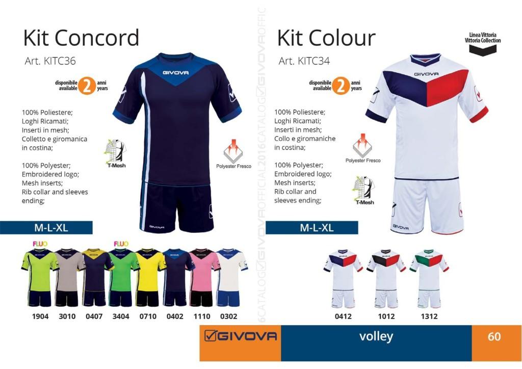 Stroje siatkarskie Givova Kit Concord i Colour