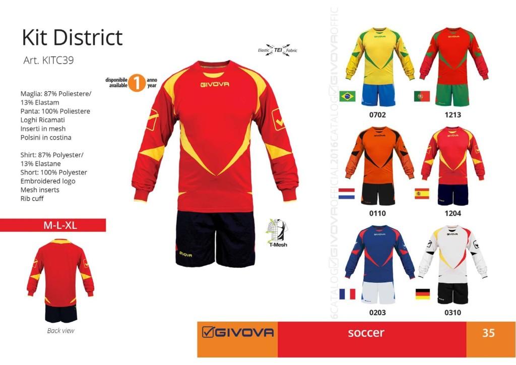 Komplety piłkarskie Givova Kit District