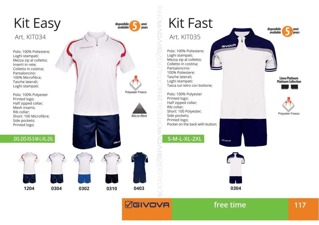 Odzież Givova Relax Kit Easy i Kit Fast