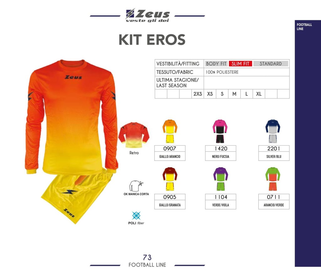 Komplety piłkarskie Zeus Kit Eros