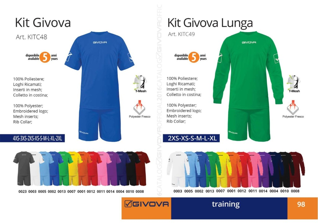 Odzież treningowa Kit Givova i Givova lunga
