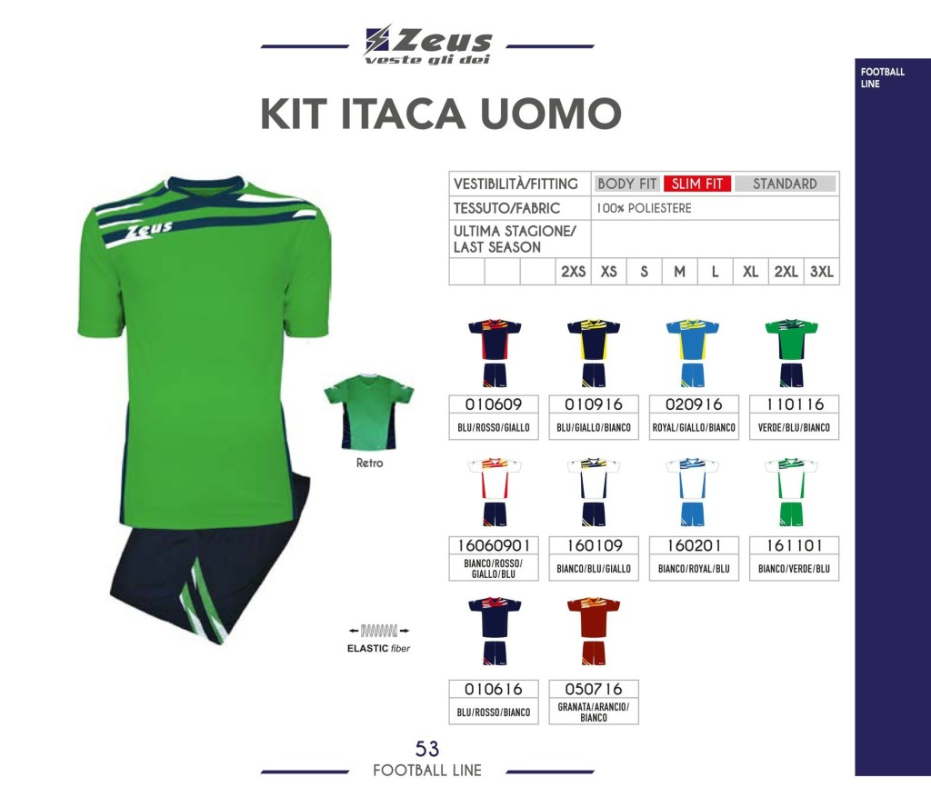 Komplety piłkarskie Zeus Kit Itaca Uomo