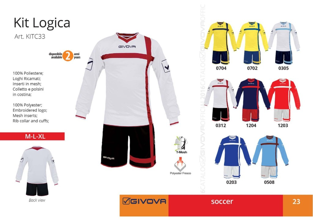 Komplety piłkarskie Givova Kit Logica