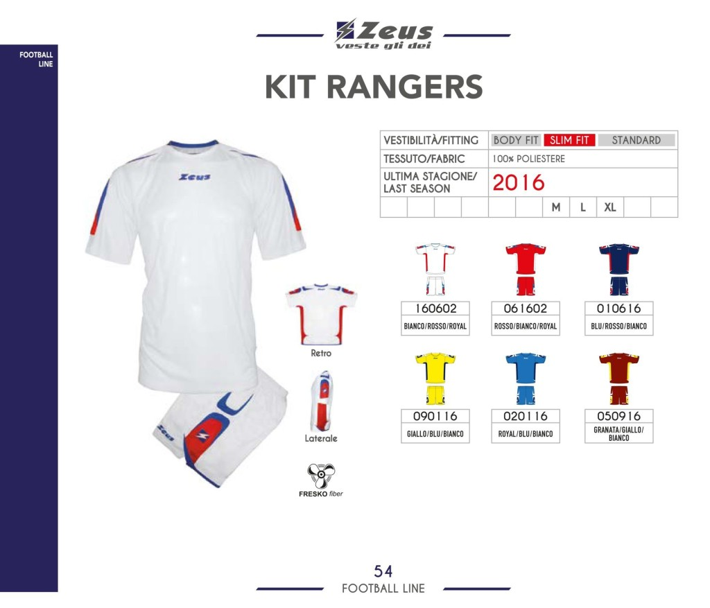 Stroje piłkarskie Zeus Kit Rangers