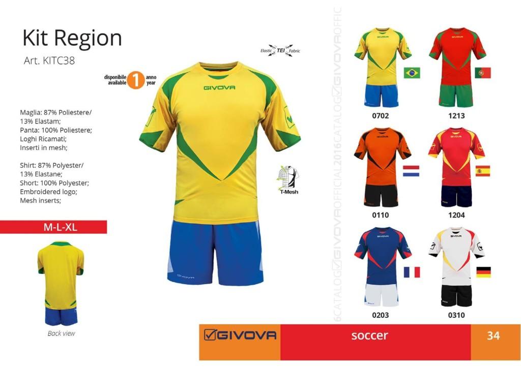 Komplety piłkarskie Givova Kit Region