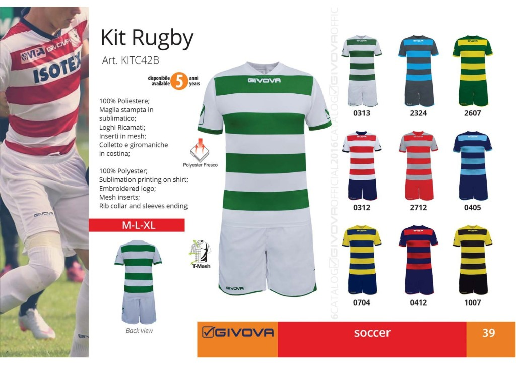 Komplety piłkarskie Givova Kit Rugby