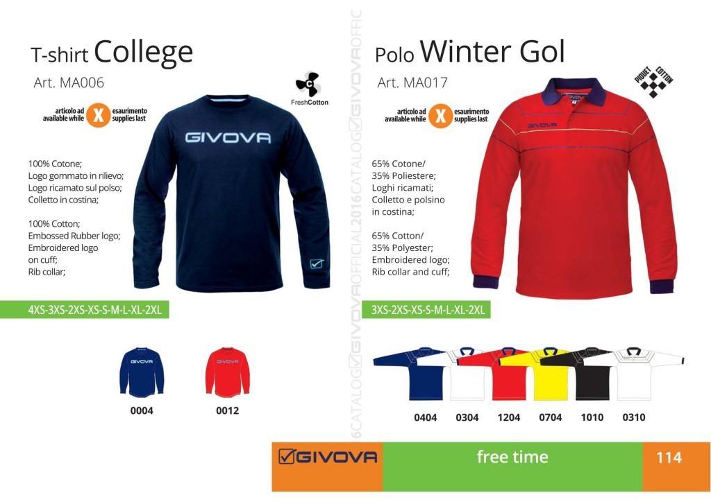 Odzież Givova Relax T-shirt College i Polo Winter Gol
